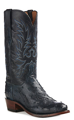 Lucchese Men's Elgin Black Full Quill Round Toe Western Boot