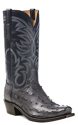 Lucchese Men's Hugo Anthracite Grey Full Quill Ostrich Snip Toe Exotic Western Boots