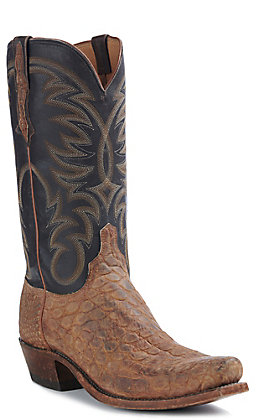 Lucchese Men's Rodney Giant Cognac American Gator Snip Toe Exotic Western Boots