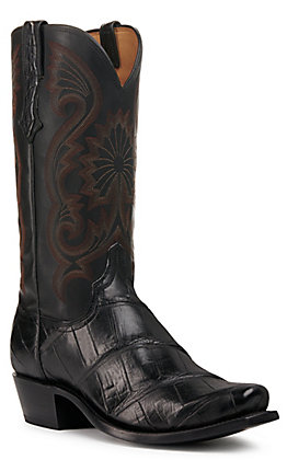 Lucchese Men's Antique Black Giant Gator Punchy 7 Toe Exotic Western Boots