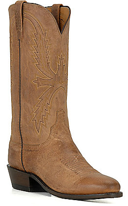 Lucchese Men's 1883 Tan Burnish Maddog Goat R-Toe Western Boots