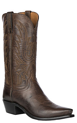 Lucchese Men's 1883 Chocolate Burnish Maddog Goat Snip Toe Western Boots