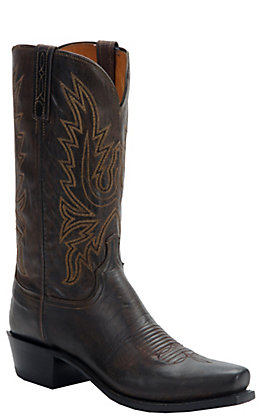 Lucchese 1883 Men's Chocolate Burnish Mad Dog Goat 7-Toe Narrow Punchy Toe Western Boots