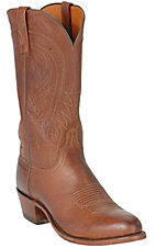 Lucchese 1883 Men's Tan Brown Burnished R-Toe Ranch Hand Western Boots