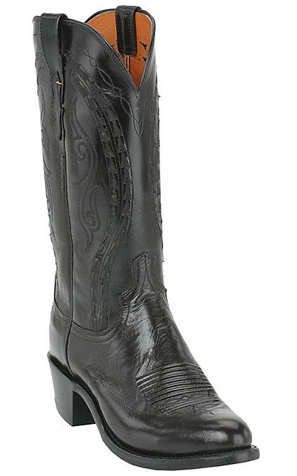 e4c720fff33 Lucchese 1883 Men's Black Buffalo Calf R-Toe Western Boot