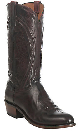 Lucchese 1883 Men's Antique Black Cherry Mad Dog Goat Round Toe Western Boots