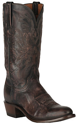 Lucchese 1883 Men's Antique Dark Brown Goat R-Toe Western Boots