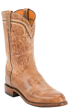 Lucchese 2000 Men's Tan Burnished Mad Dog Leather Roper Boots