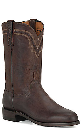 Lucchese 2000 Men's Chocolate Burnished Mad Dog Leather Roper Boots