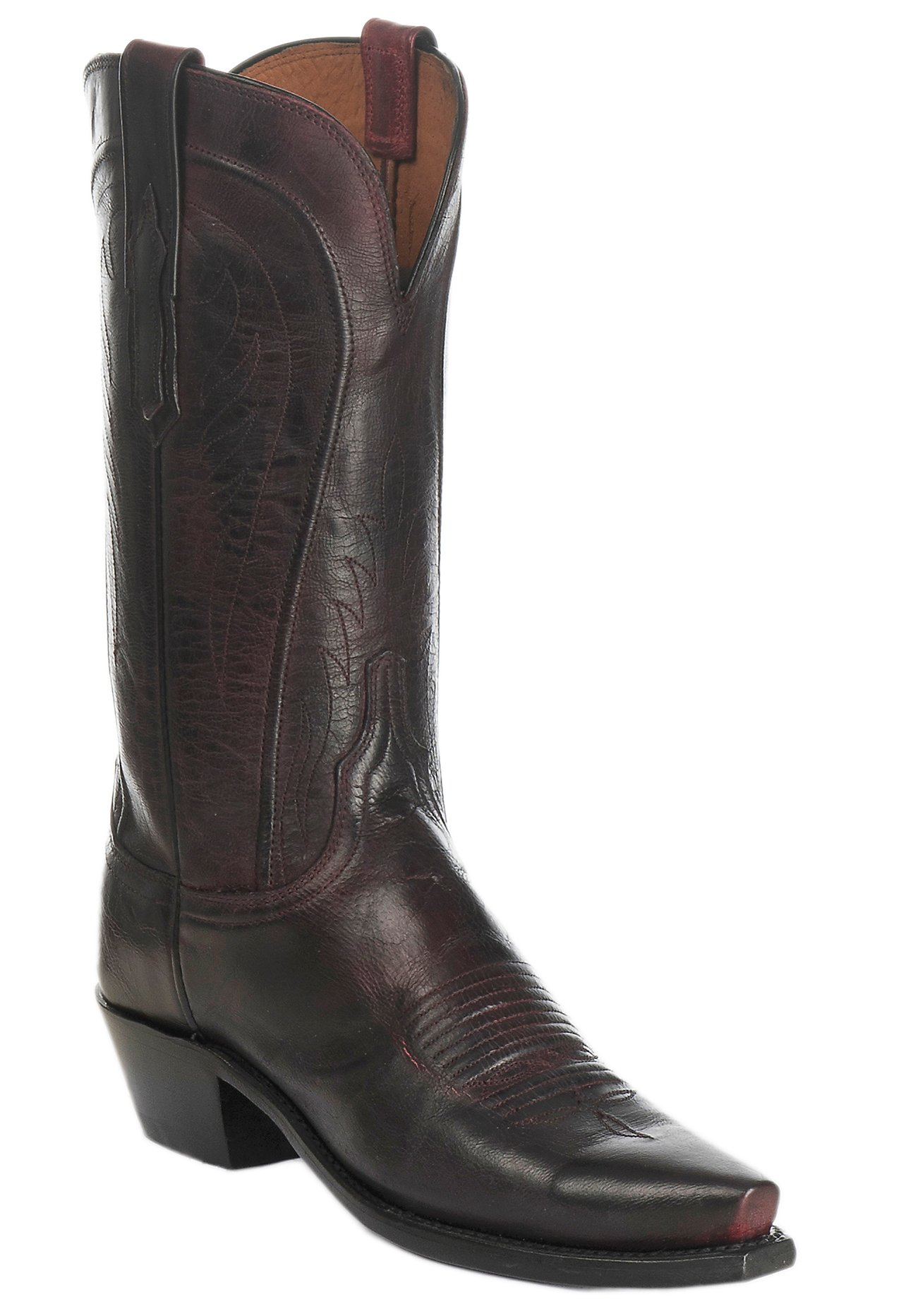 lucchese 1883 s black cherry mad goat snip toe