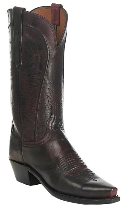 6769ac9ba81 Lucchese 1883 Women's Black Cherry Mad Dog Goat Snip Toe Western Boots