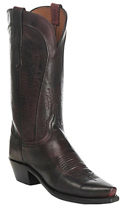 Lucchese 1883 Women's Black Cherry Mad Dog Goat Snip Toe Western Boots