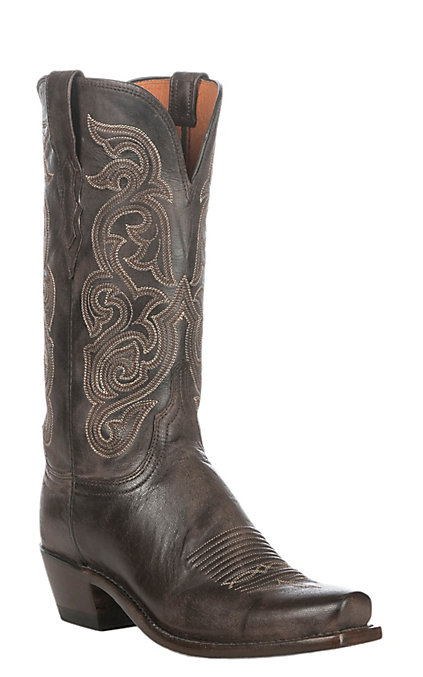 12187851965 Lucchese 1883 Women's Antique Dark Brown Goat Narrow Punchy 7-Toe Western  Boots