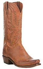 Lucchese 1883 Men's Peanut Brittle Tan Burnished Punchy Square Toe Western Boots