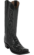 Lucchese 1883 Women's Black Ultra Caiman Belly w/ Black Buffalo Top Snip Toe Western Boots