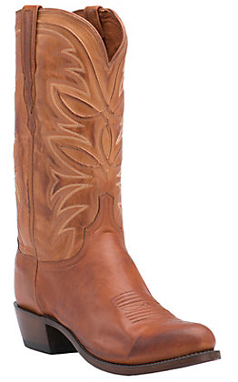 Lucchese 1883 Men's Cognac Burnished R-Toe Ranch Hand Western Boots