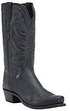 Lucchese 1883 Men's Black Ranch Hand Goat 7-Toe Narrow Punchy Toe Western Boots