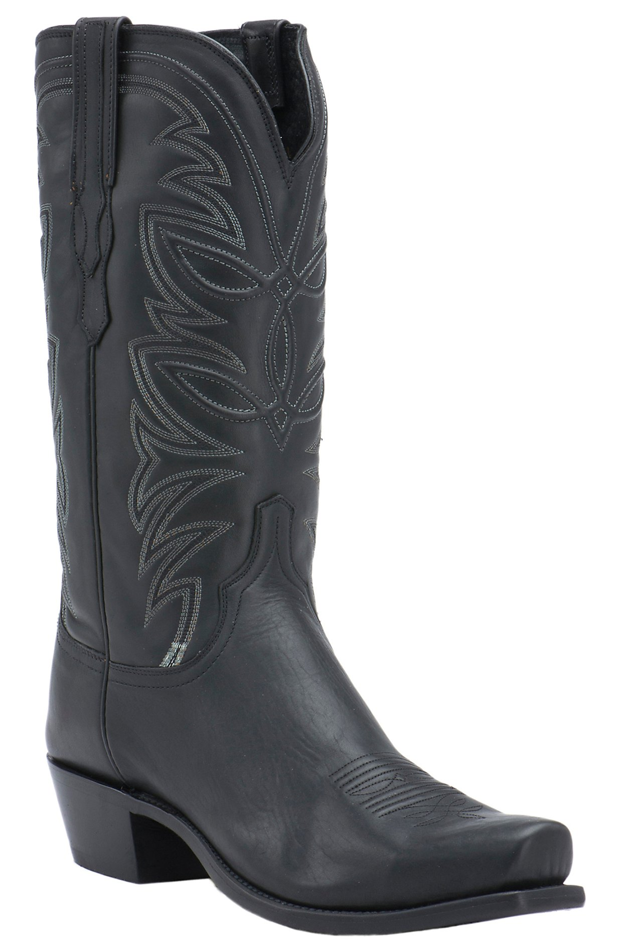Lucchese 1883 Men s Black Ranch Hand Goat 7-Toe Narrow Punchy Toe Western  Boots c2abf038bf3
