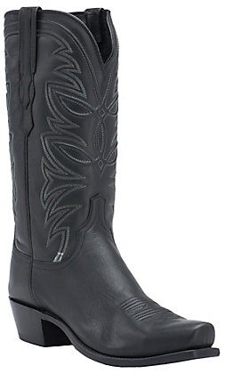 Lucchese 1883 Men's Black Ranch Hand 7-Toe Narrow Punchy Toe Western Boots