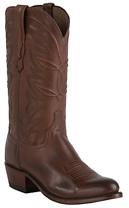 Lucchese Men's 1883 Tan Burnished Ranch Hand Goat R-Toe Western Boot