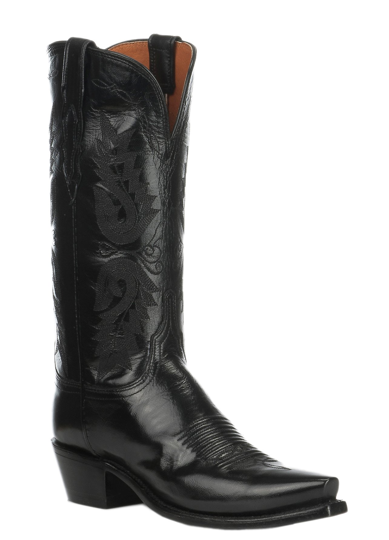 These authentic western black leather womens cowboy boots from Laredo feature a comfort cushion insole, cowboy heel, and r toe. Constructed from high quality materials, these boots are made to last. If youre looking to add some western flare to your wardrobe, these sleek and stylish boots .