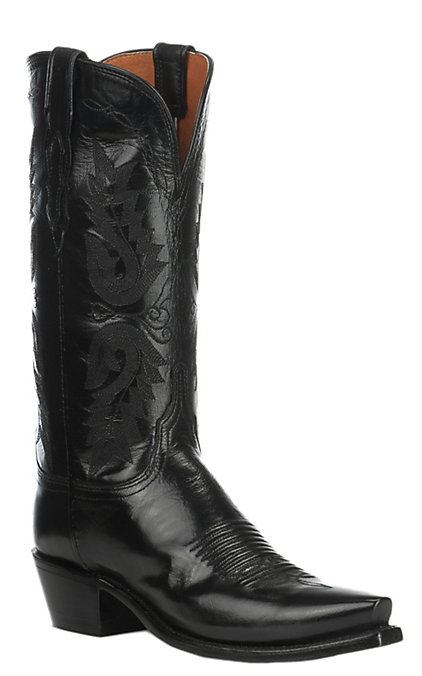 a1720478546 Lucchese 1883 Women's Black Goat Snip Toe Western Boots
