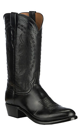 Lucchese Men's Black Goat Western Round Toe Boots