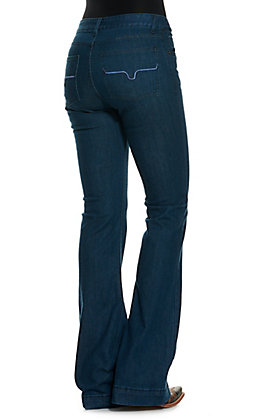 Kimes Ranch Women's Lola Dark Indigo Wash Mid Rise Flare Leg Trouser Jeans