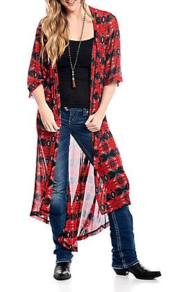 Crazy Train Women's Red Aztec Short Sleeve Duster