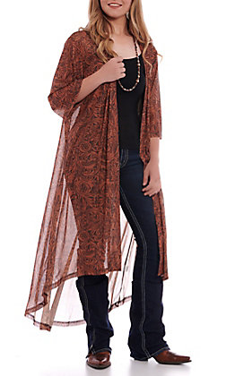 Crazy Train Women's Rust Lone Star Tooled Duster