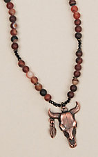 Laminin Longhorn Striped Dream Agate Beaded Necklace