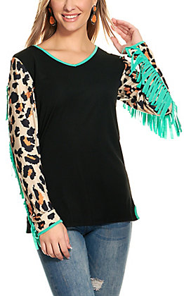 Crazy Train Women's Black with Turquoise Fringed Leopard Print Long Sleeves Top