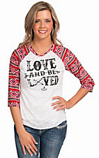 Ali-Dee Collection Women's White Love And Be Loved 3/4 Aztec Raglan Sleeve Top