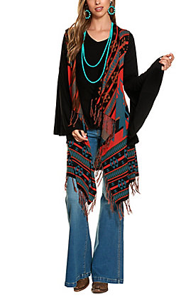 Cowgirl Legend Women's Black and Orange Aztec Pattern Fringed Sweater Vest