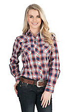 Cowgirl Legend Women's Pink and Blue Plaid Long Sleeve Western Snap Shirt