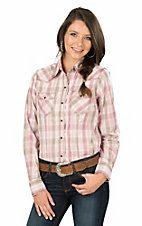 Wired Heart Women's Pink, White, and Brown Plaid Long Sleeve Western Shirt