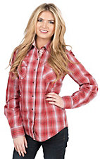 Wired Heart Women's Red & Black Plaid Long Sleeve Western Shirt