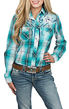 Cowgirl Legend Women's Turquoise Plaid w/ Embroidery L/S Western Snap Shirt