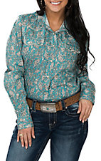 Cowgirl Legend Women's Turquoise Paisley Western Snap Shirt