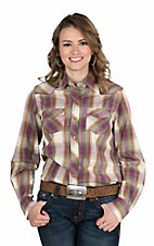 Wired Heart Women's Purple and Green Plaid Long Sleeve Western Snap Shirt