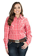 Wired Heart Women's Coral Plaid with Silver Lurex Long Sleeve Western Snap Shirt