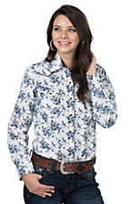 Wired Heart Women's Blue Floral Long Sleeve Western Snap Shirt