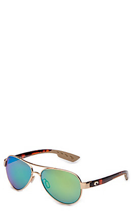 Costa Loreto Green Mirror Rose Gold Tortoise Sunglasses