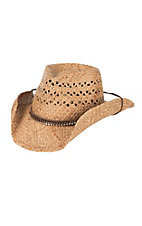 Scala Tan with Rhinestone Hatband & Chincoard Vented Straw Cowboy Hat LR678OS
