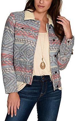 Wrangler Retro Women's Hertiage Blue Aztec with Sherpa Jacket