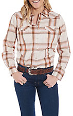 Wrangler Women's Cream and Orange Woven Plaid Print Long Sleeve Western Snap Shirt