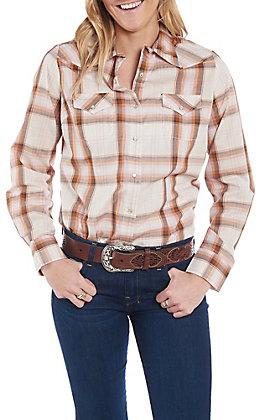 Wrangler Women's Cream and Orange Woven Plaid Print Long Sleeve Western Snap Shirt