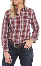 Wrangler Women's Woven Wine Plaid Long Sleeve Western Shirt