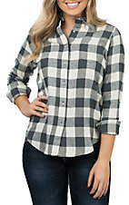 Wrangler Women's Grey and Cream Long Sleeve Buffalo Checkered Flannel