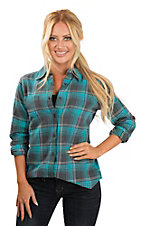 Wrangler Women's Turquoise and Grey Plaid Flannel Long Sleeve Fashion Top